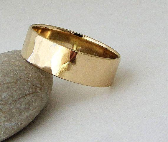 Mens Wedding Band Gold Wedding Ring Hammered Gold by GoldSmack, $675.00