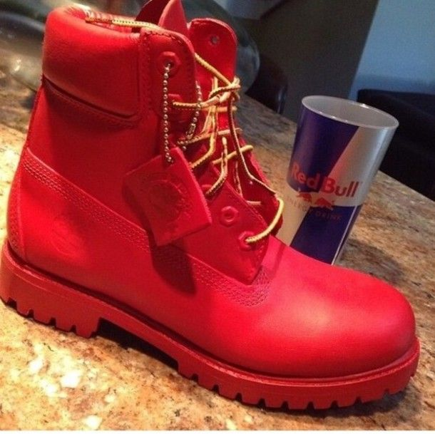 timberland boots black and red