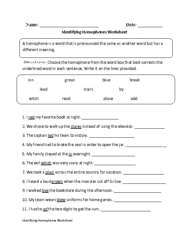 Identifying Homophones Worksheet | English | Pinterest ...