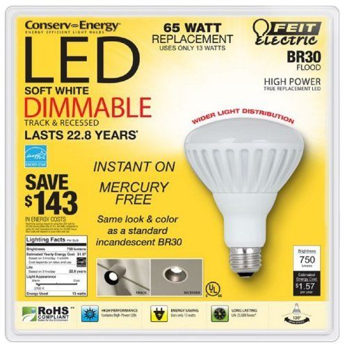 Feit Electric Br30 Flood Dimmable 13w/65w LED Light Bulb 750 Lumens 120° Degree by Feit Electric, http://www.amazon.com/dp/B009BQUC1Q/ref=cm_sw_r_pi_dp_hYvnsb0H428CA