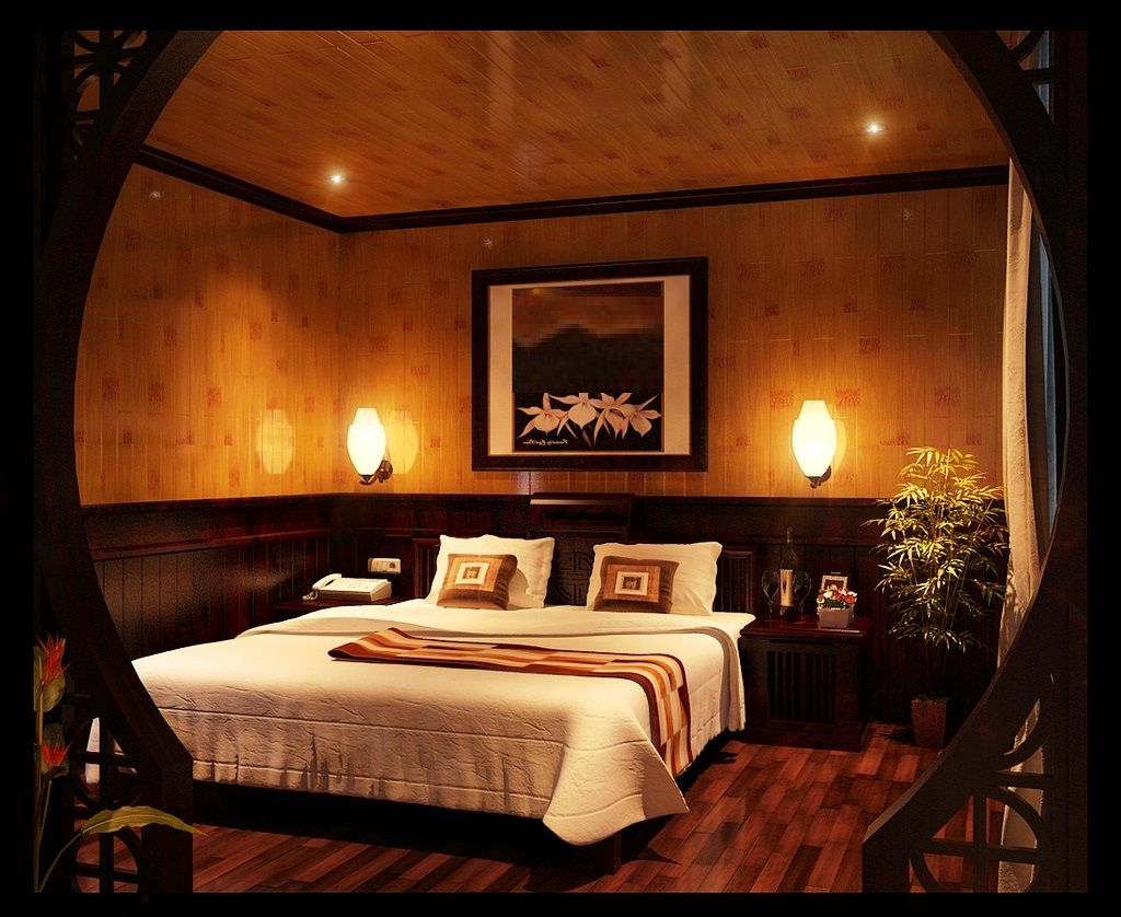 Romantic Bedroom Decor Idea With Dim Light Fixtures Feat Contemporary Floating Bed Also Wall Romantic Bedroom Design Warm Bedroom Colors Master Bedrooms Decor