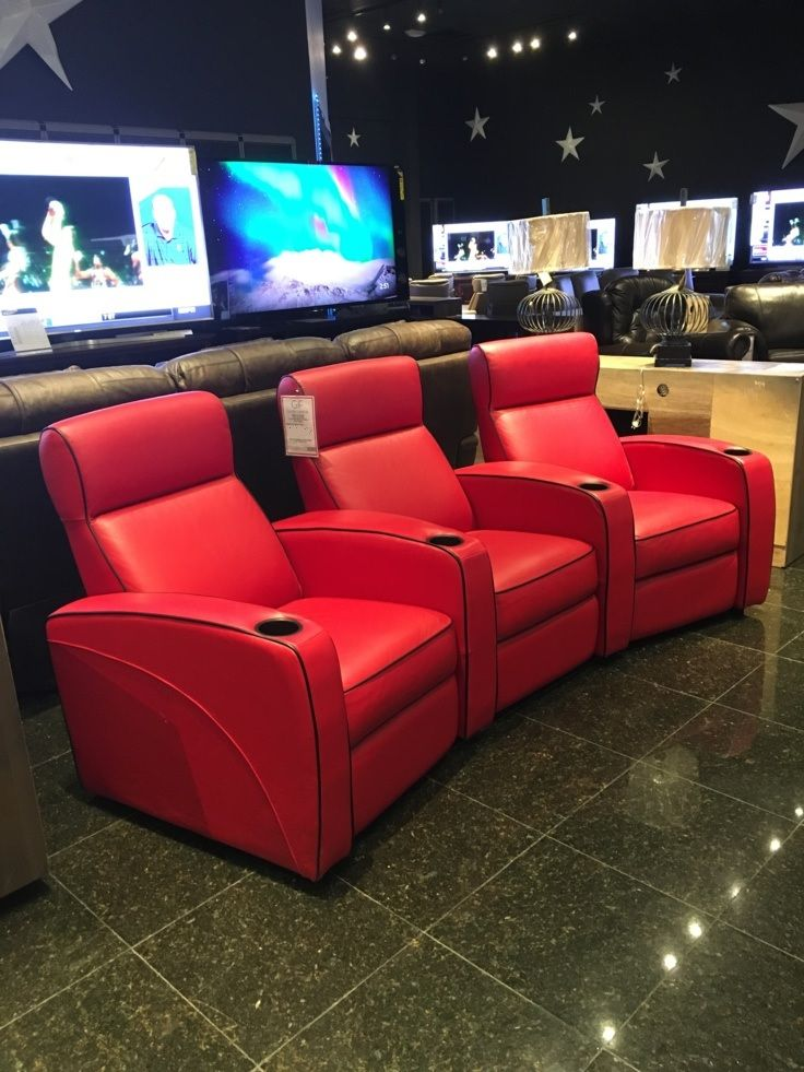 This vibrant red home theater seating will introduce all