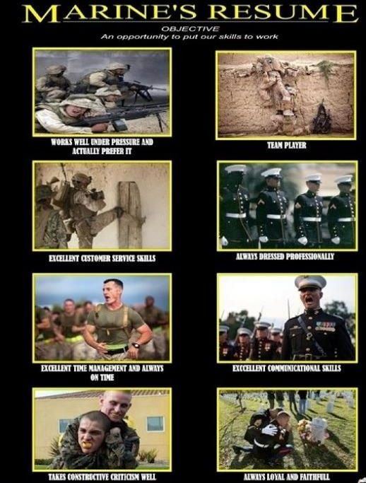 I love this ) USMC Wife) Pinterest Resume objective, USMC - marine corps resume