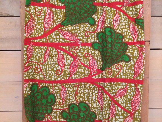Dutch Wax Cloth Vibrant Red and Green Leaves by the by chezboheme, $16.00