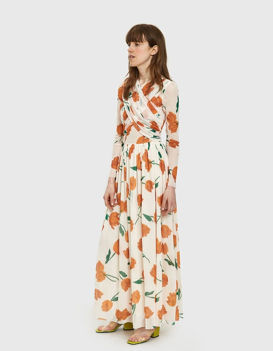 Ganni Tilden Mesh Crossfront Maxi Dress Maxi Dress Dresses Mesh Dress