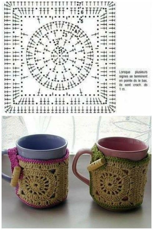 Cubre tazas | Bandas para taza o fajillas crochet patrón gratis o ...