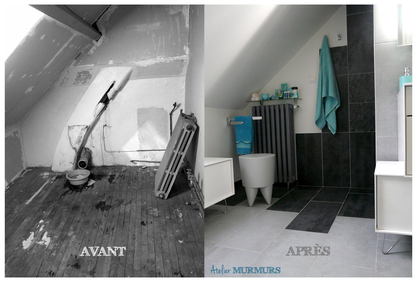 Création d\'une salle de bain sous combles, en gris, bleu turquoise ...