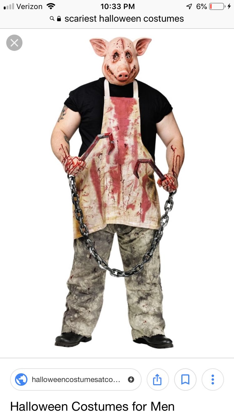 Adult Saw Butcher Pig Costume Mens Evil Halloween Bloody Fancy Dress Outfit