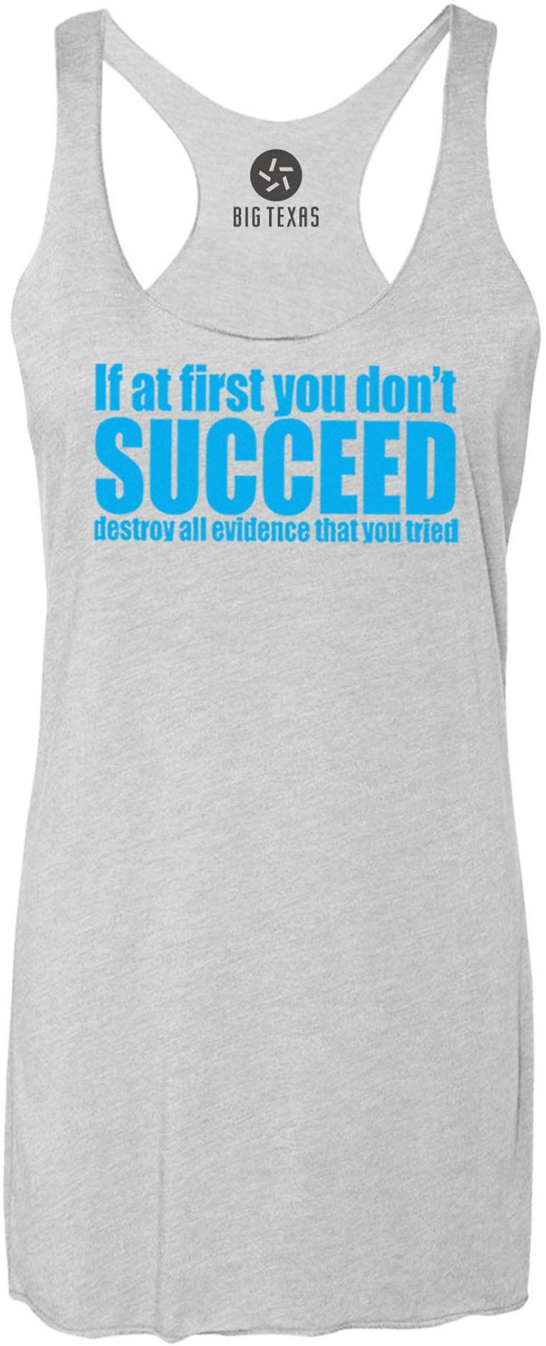If at First You Dont Succeed (Blue) Tri-Blend Racerback Tank-Top