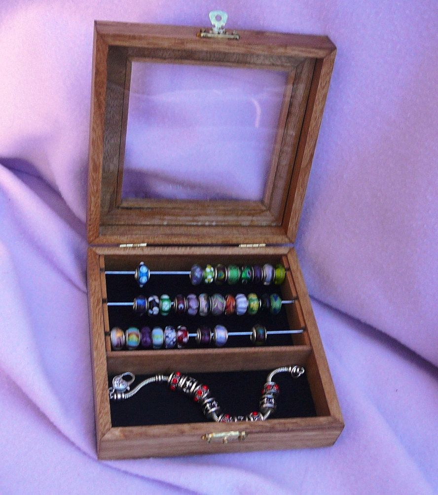 Jewelry Box For Pandora Charms: Square Pandora & Trollbead Bead Box With Compartment