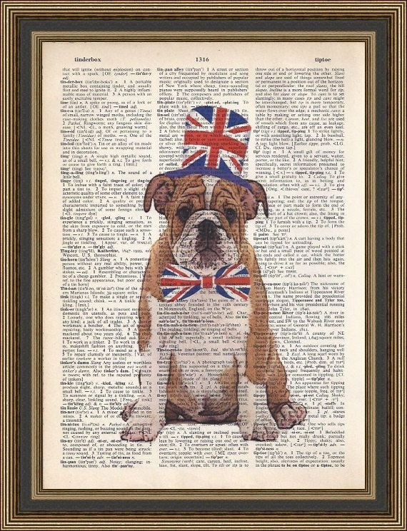 77c7cc00057 English bulldog sporting his union jack top hat and bowtie printed on a  vintage dictionary page. Wall Decor
