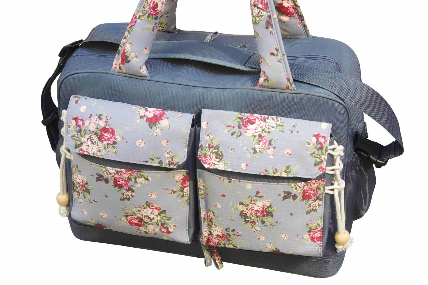 Diaper Bag Large Messenger Tote Two Compartments Inside 4 Bottle Holders Changing Pad Wet