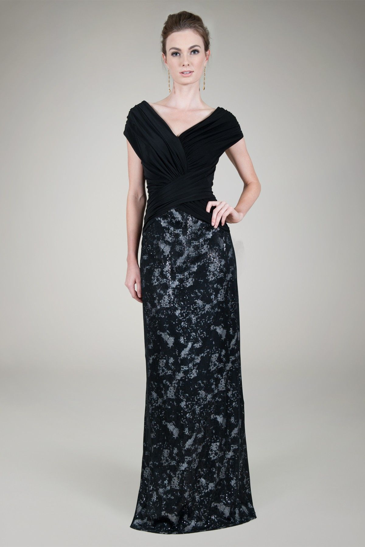 Mini Paillette Gown in Black / Silver - Evening Gowns - Evening ...