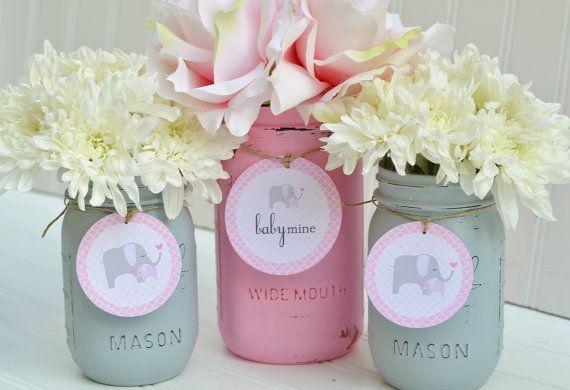 Mason Jar Baby Shower Decorations Baby Shower Decorations  Baby Shower Decor  Pink And Grey