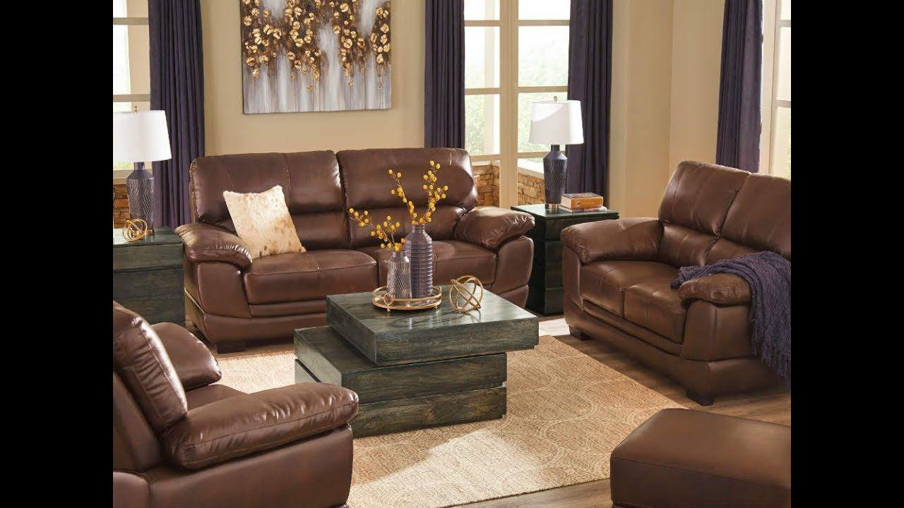 Ashley 122 Fontenot Chocolate Sofa Set Leather Living Room Set Living Room Sets Brown Walls Living Room