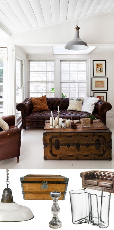 un salon british colonial avec canap chesterfield et une