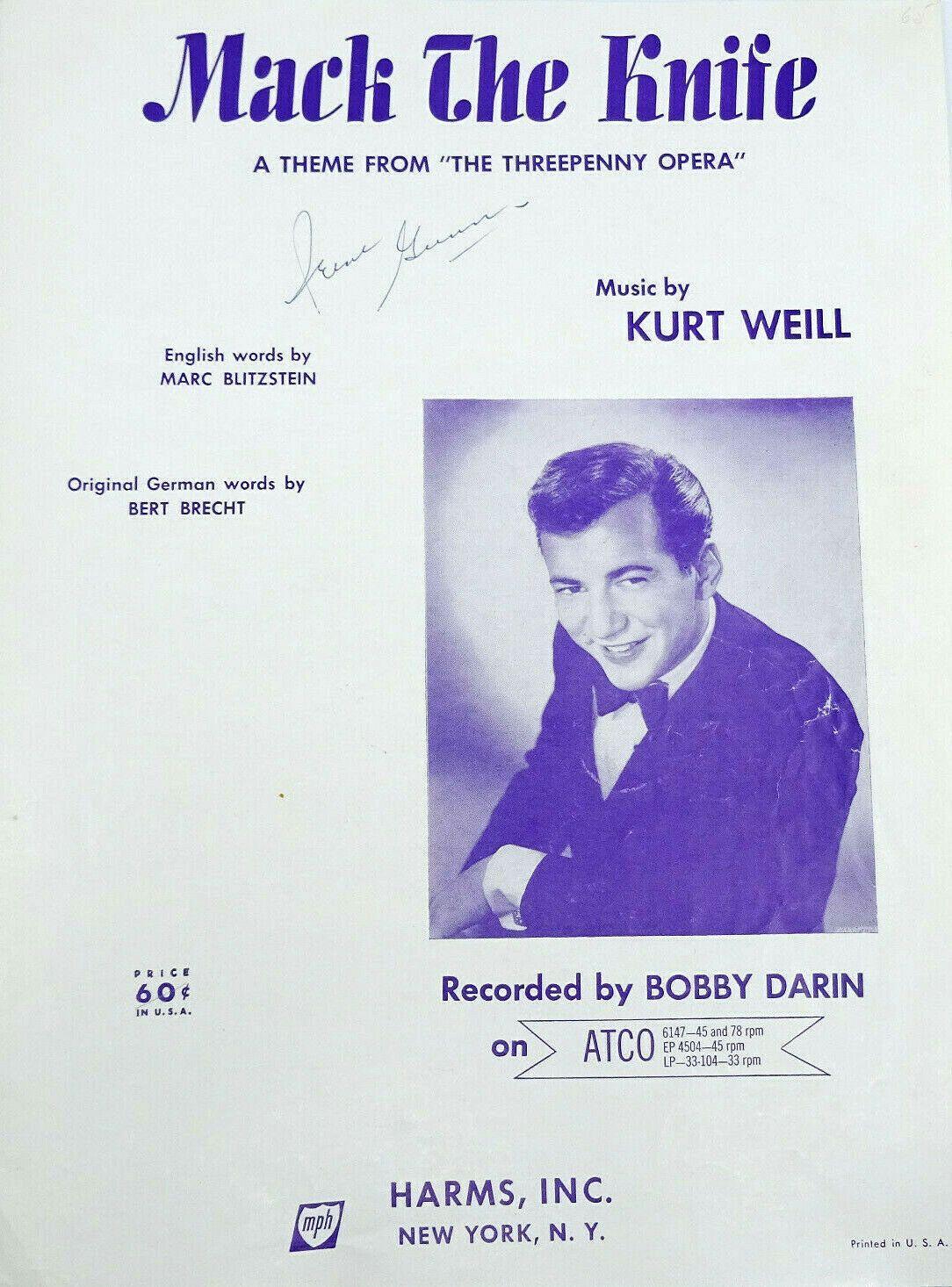 Mack The Knife Vintage Sheet Music 1928 Threepenny Opera Song Etsy Mack The Knife Vintage Sheet Music Bobby Darin