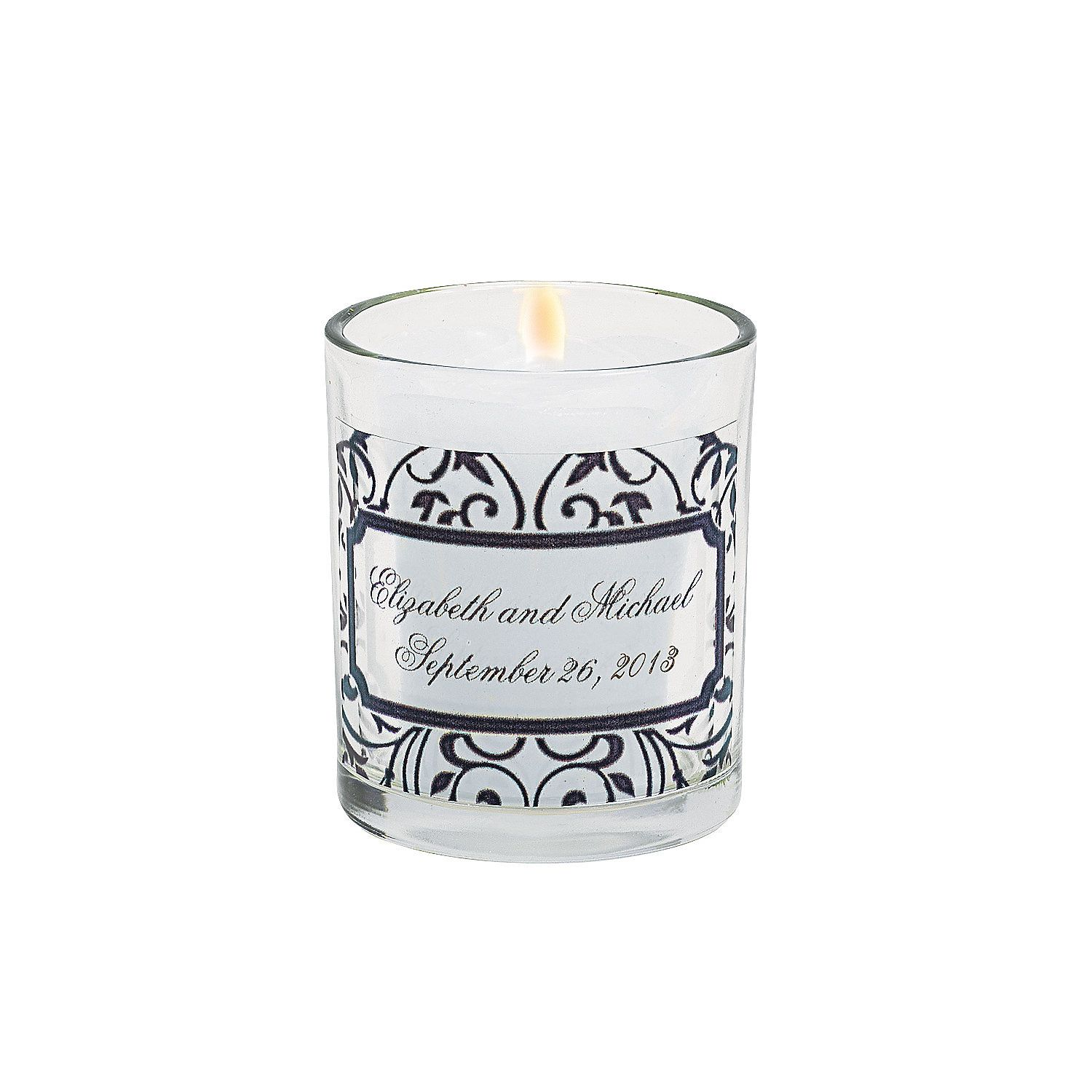 Candles With Gifts Inside Personalized Black And White Votive Candleholders