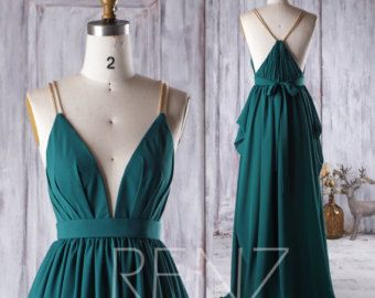 2017 Dark Turquoise Bridesmaid Dress Open Back Wedding Dress Dark Green Bridesmaid Dress Green Chiffon Dress Chiffon Dress