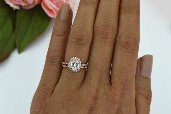 Ring 1 5 Ctw Oval Halo Bridal Set Man Made Diamond By Tigergemstones