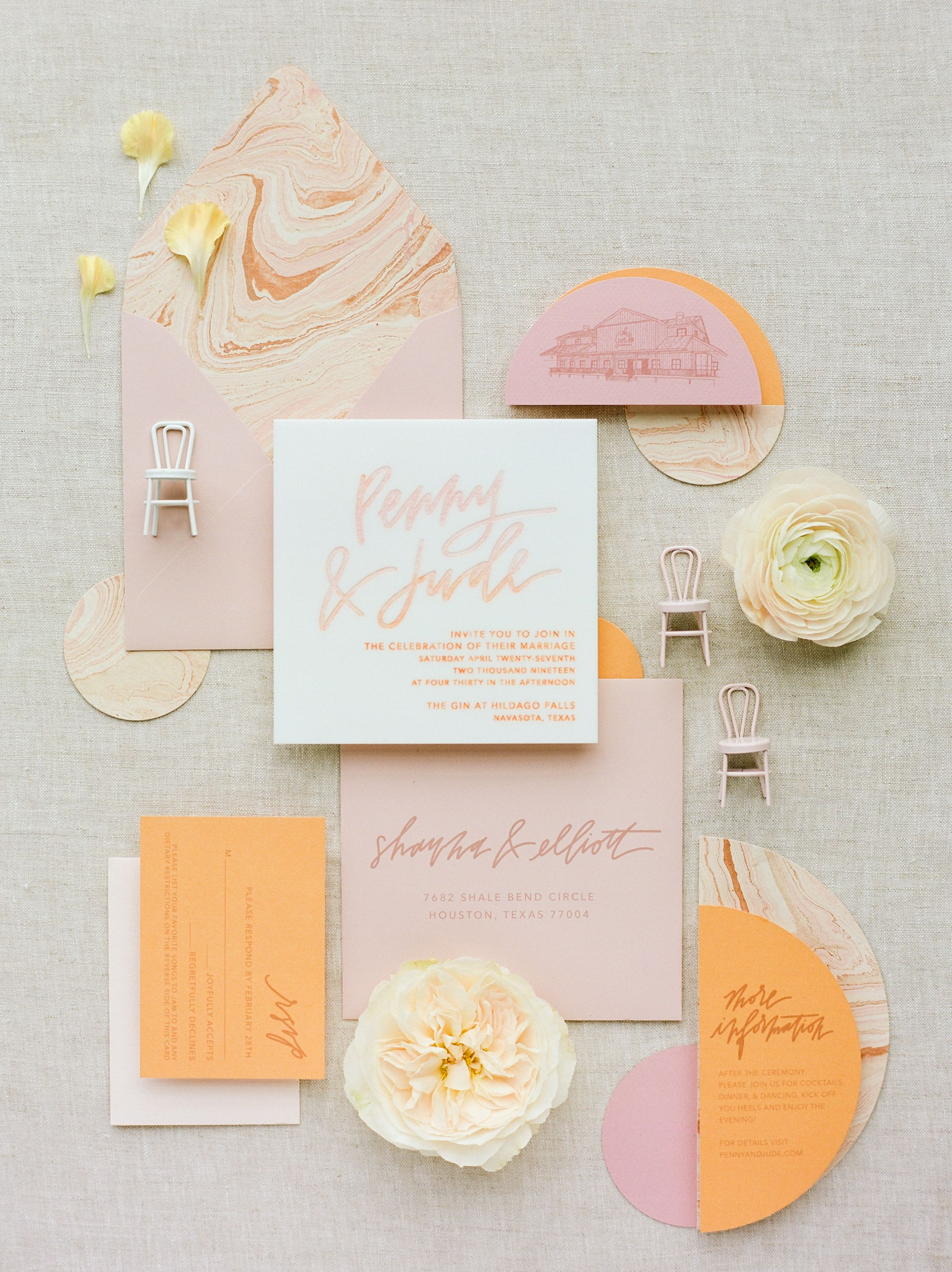 Half Moon Lettering Modern Wedding Invitations Custom Wedding