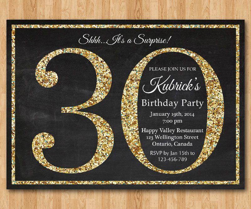 30th birthday invitation gold glitter birthday party invite adult 30th birthday invitation gold glitter birthday party invite adult surprise filmwisefo Image collections