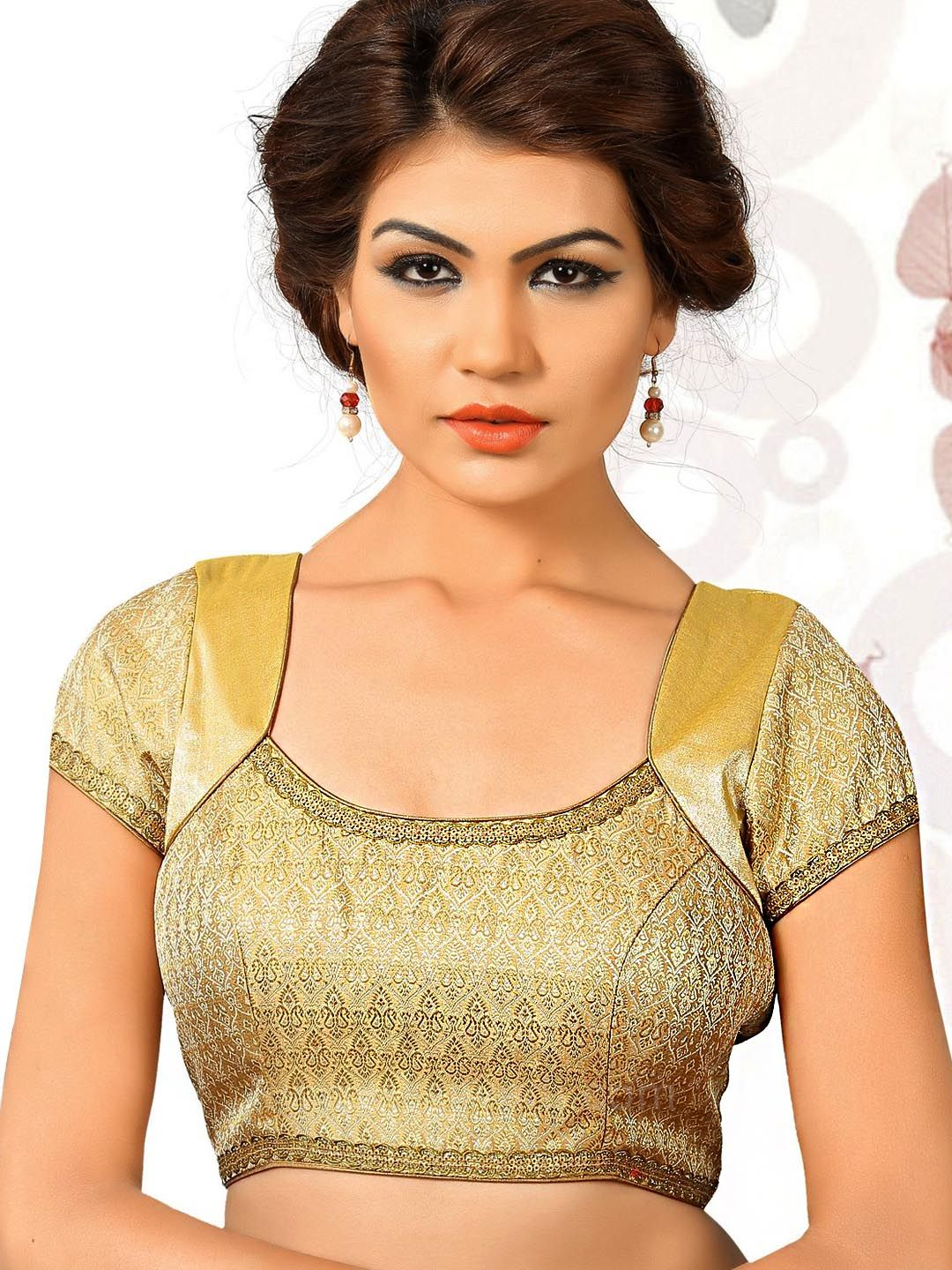 0185c3d3c71cef Designer Readymade Blouse in Golden color #rajwadi #designercholionline  #Indianblouses #Readycholiforsaree #Readymadeblouseonline
