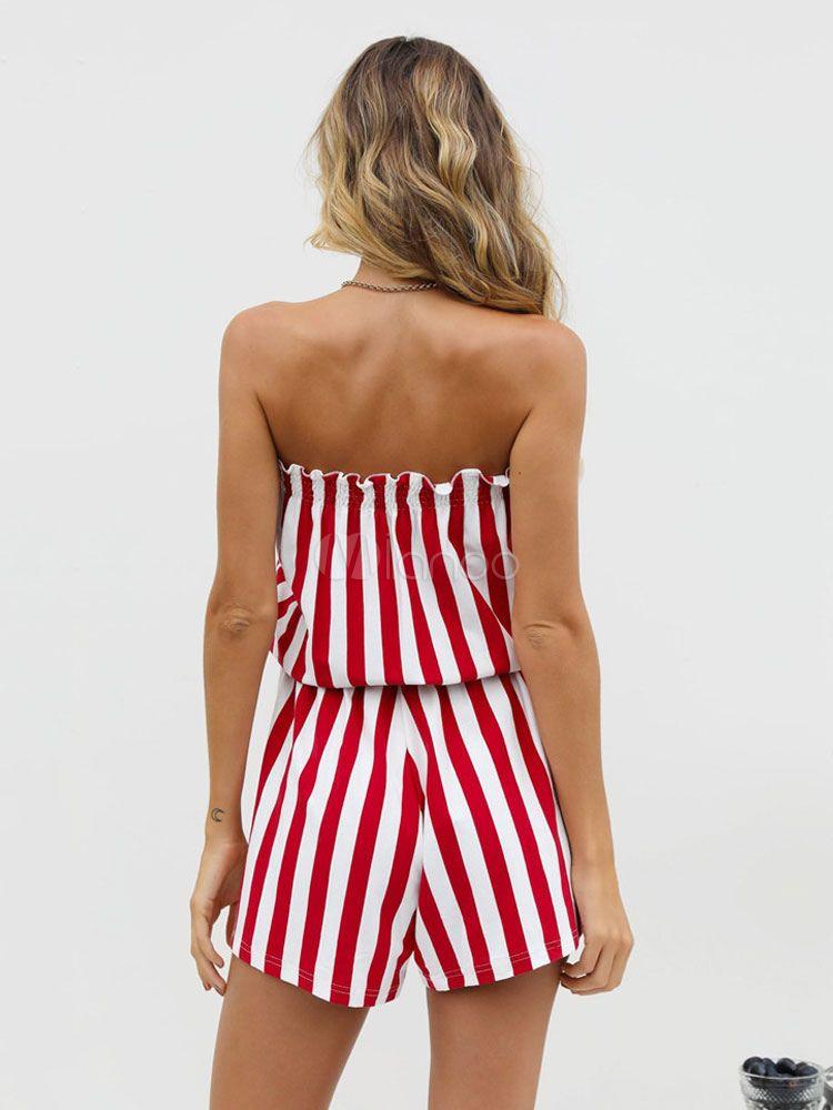 f61e24b03b6 Women Striped Romper Shorts Strapless Tassel Bandeau Playsuit  Romper