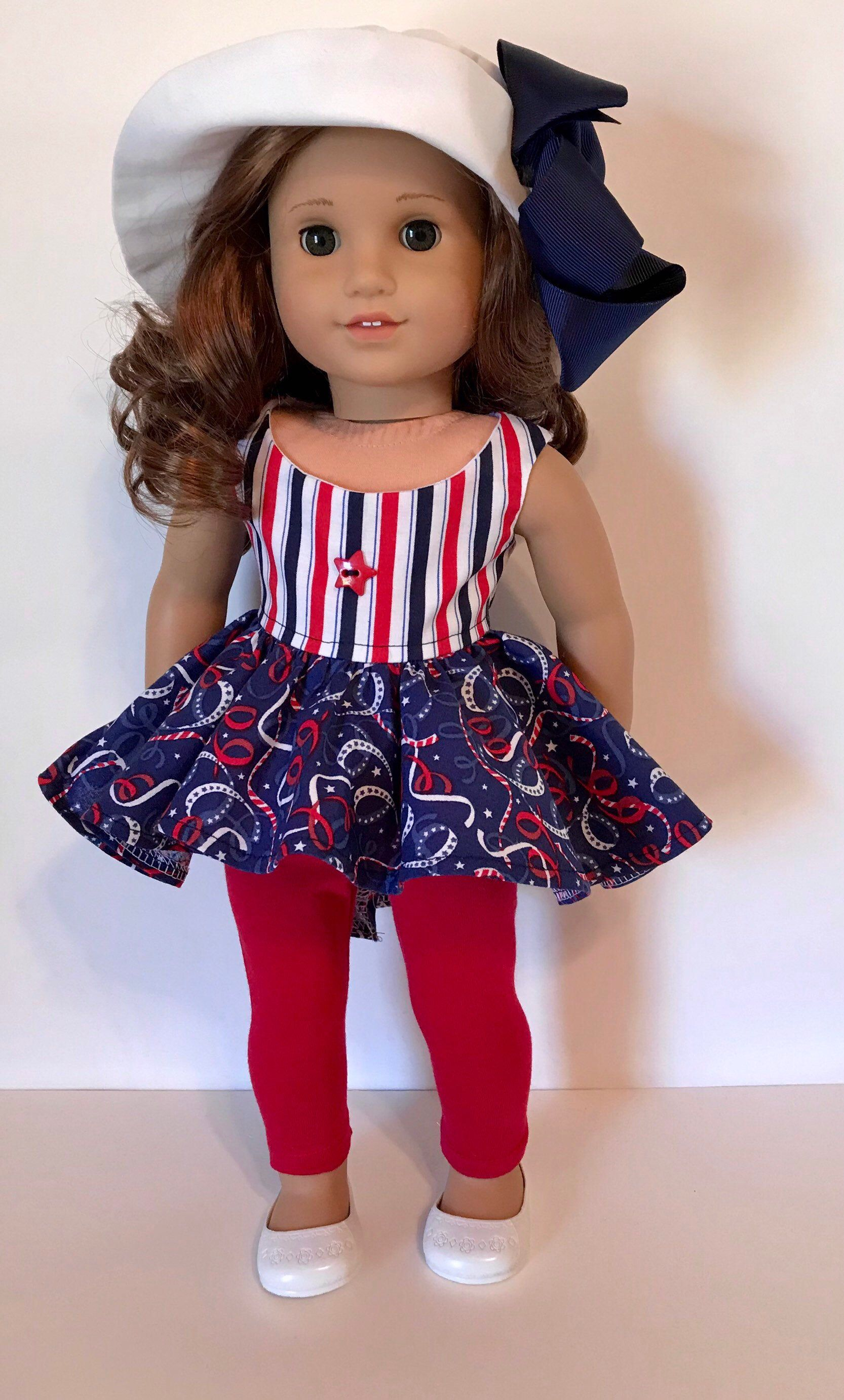 """PATRIOTIC Red Leggings w// Lace Trim for 18/"""" American Girl Doll Clothes"""
