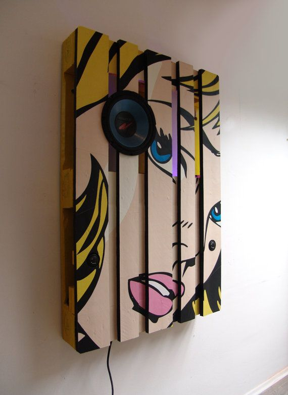 Pop-art Themed Pallet as a functional wall decoration, stereo ...