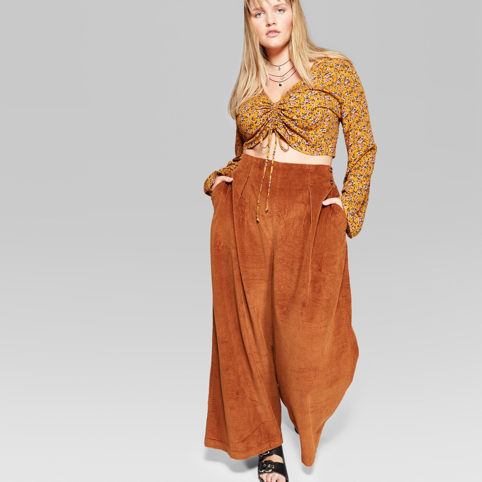 7fd9e00f093b Women s Plus High-Rise Wide Leg Corduroy Pants - Wild Fable Rust 20W ...