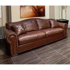 Best Aico Mia Bella Leonardo Leather Mansion Sofa In Cordovan 400 x 300