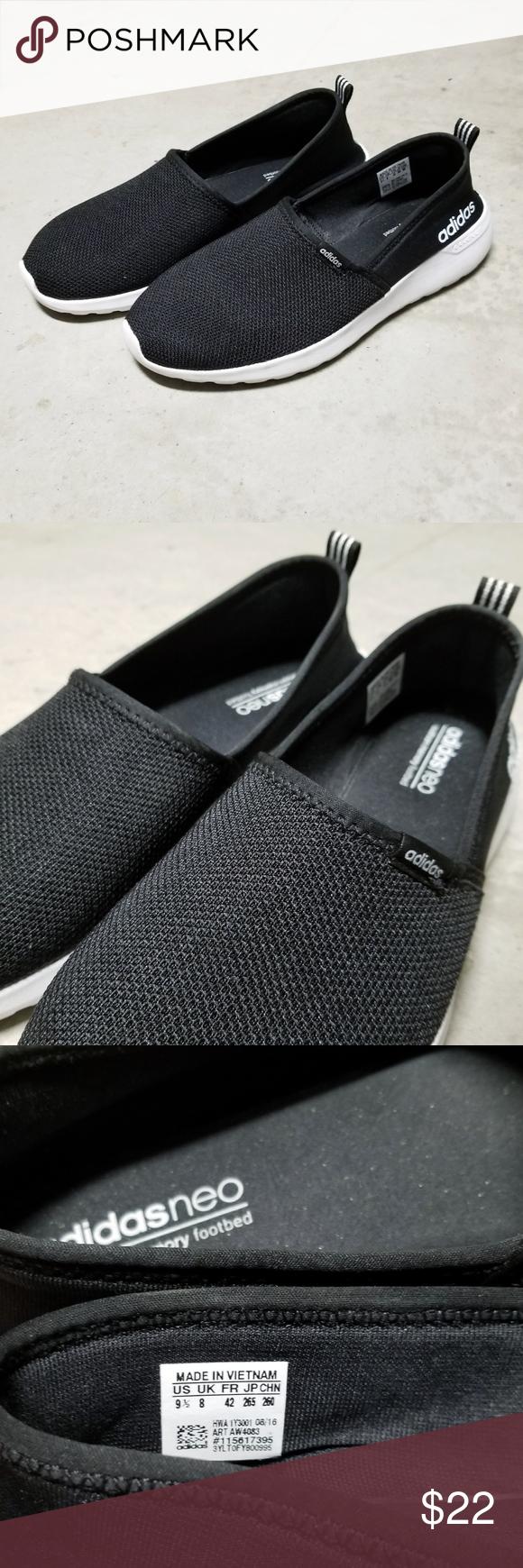Adidas Neo Cloudfoam Lite Racer Slip Ons +A black pair of