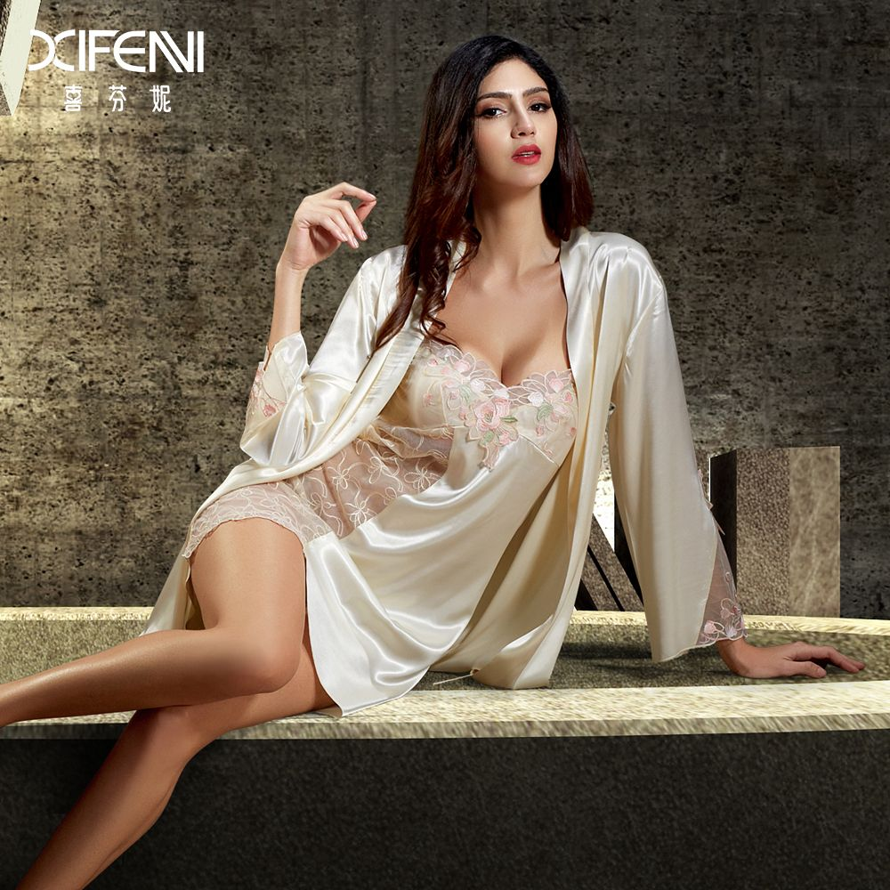 c4f3c5d185 XIFENNI Silk Bathrobes Female Twinset Sleepwear Embroidery Long-Sleeved  Lace Women Nightgowns Imitation Silk Robe Sets 6622