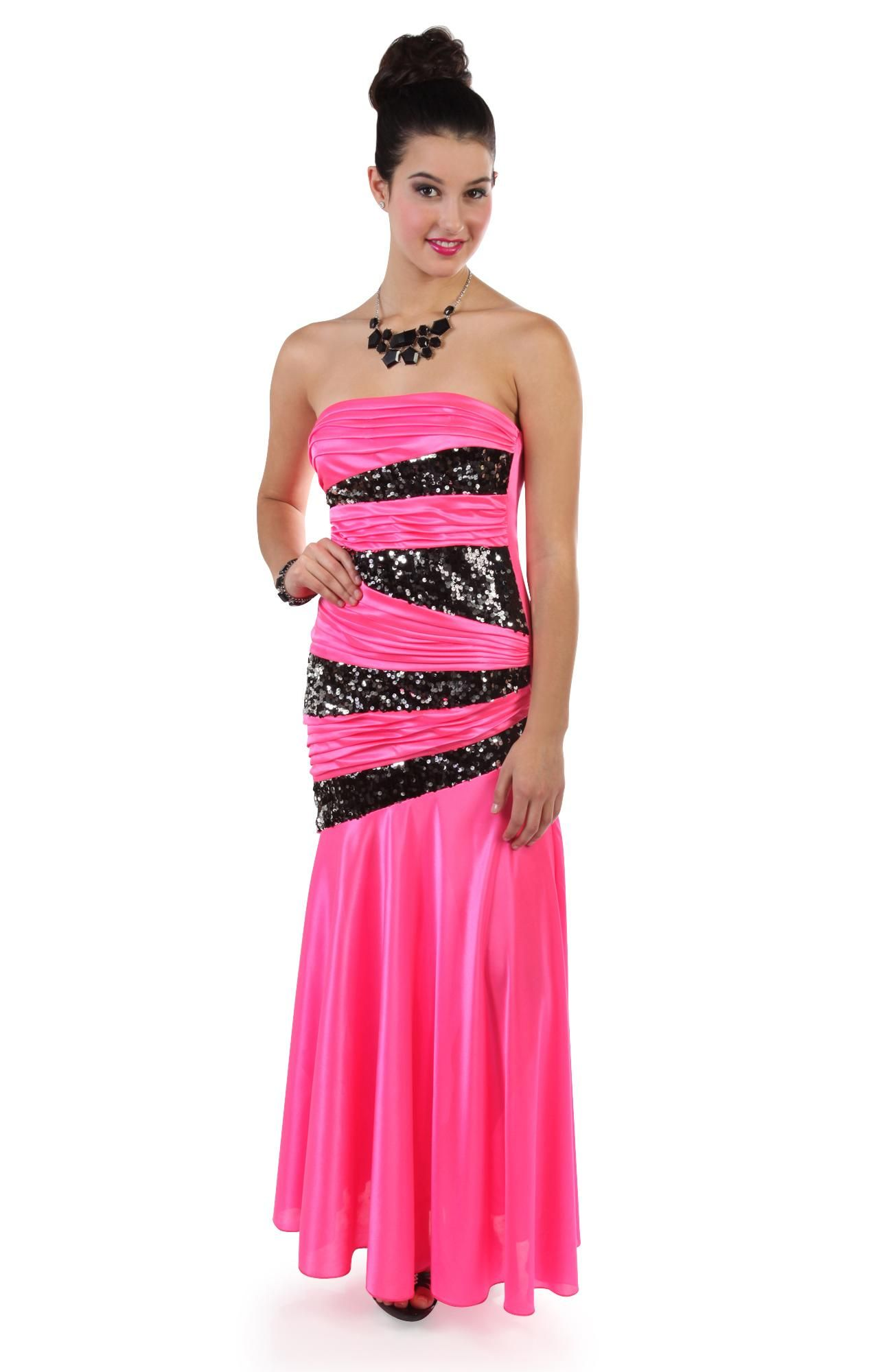 Deb Shops #neon #pink strapless silky long #prom #dress with godat ...