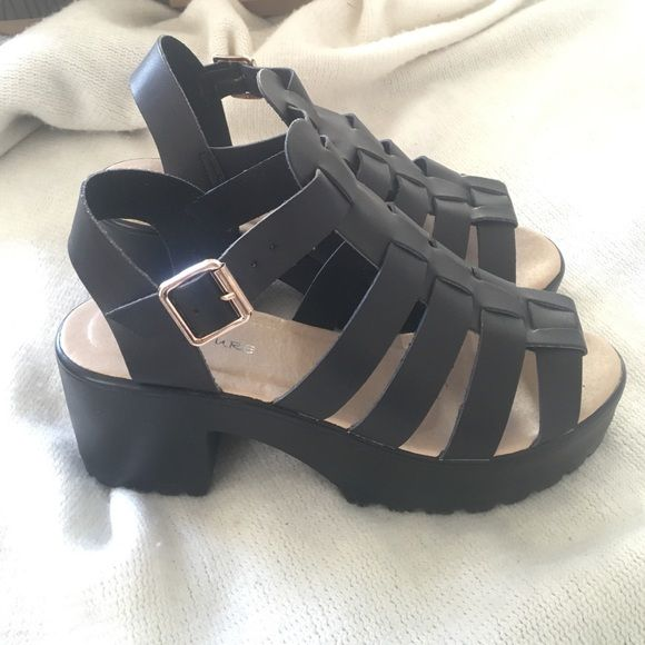 5f2d00e162d Kia Cleated Sole Fisherman Wedges Heels Worn once (for like 5 minutes too)  Kia Cleared Sole Fisherman Strappy Heels! Size 10 but UK Size 8 Boohoo  Shoes ...