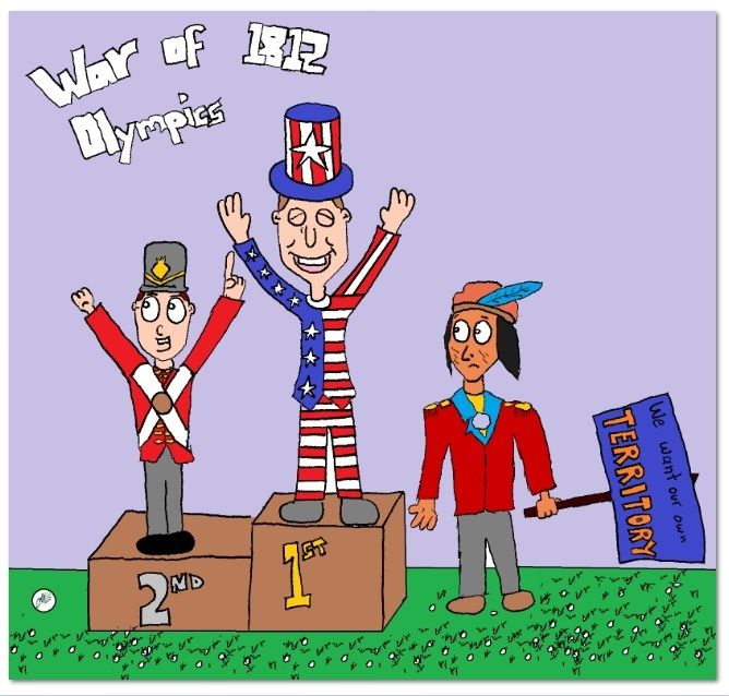 war of cartoon why is tehcumseh not on the podium  war of 1812 essay war of 1812 cartoon why is tehcumseh not on the podium