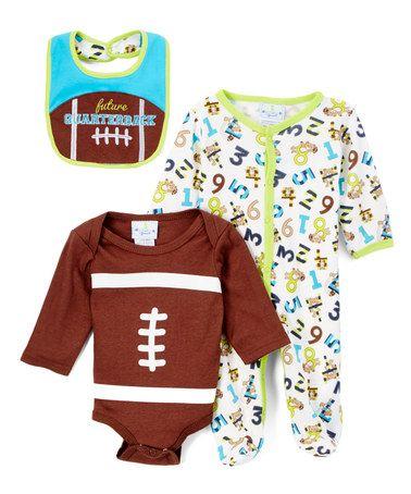 $9.99 marked down from $20! Brown 'Future Quaterback' Three-Piece Footie Set #baby #football #superbowl #zulilyfinds
