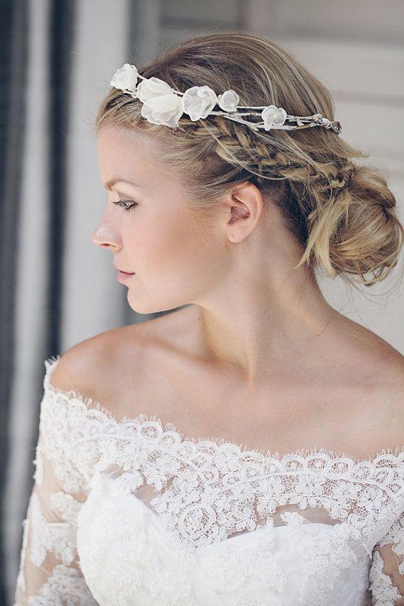R695 Chiffon flower garland crown - Crochet detail - Wedding  hair accessories colours to order. #crownscrocheted R695 Chiffon flower garland crown - Crochet detail - Wedding  hair accessories colours to order. #crownscrocheted