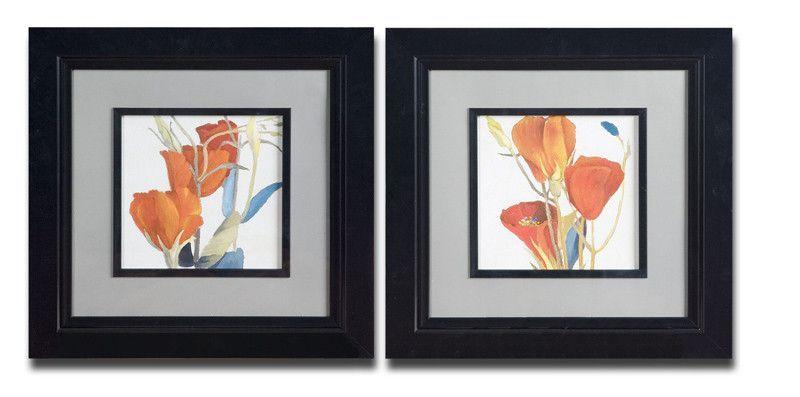 Uttermost 33567 Red Grandiflorum Floral Art Set/2