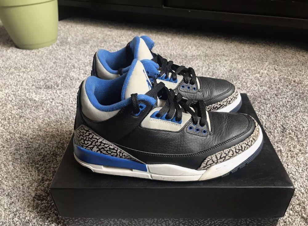 Nike Air Jordan Retro 3s Sport Blue Men's Shoes Size 8.5