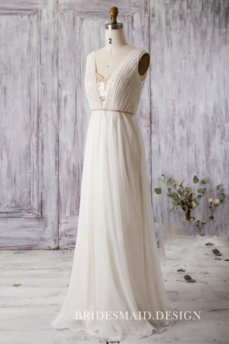Elegant Sleeveless V-Neck Pleated Cream Chiffon A-line Bridal Party ... 6837c873e