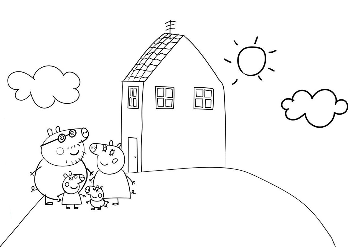 Peppa Pig House - high-quality free coloring from the category: Peppa Pig.  More printable pictures on our webs… | Peppa pig house, Pig house, Cartoon coloring  pages