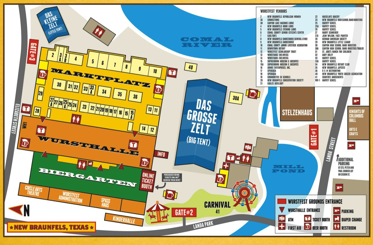 Wurst Fest Map in New Braunfels Carnival rides, Buy