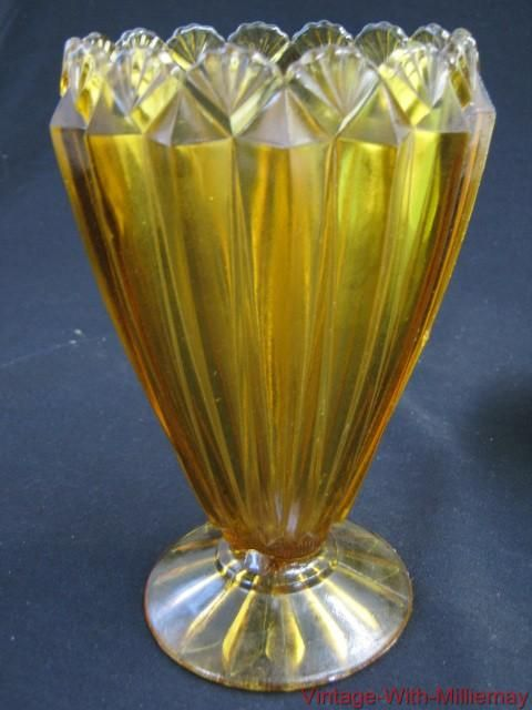 Lovely Vintage Collectable Amber Shell Panel Vase By Crown Crystal