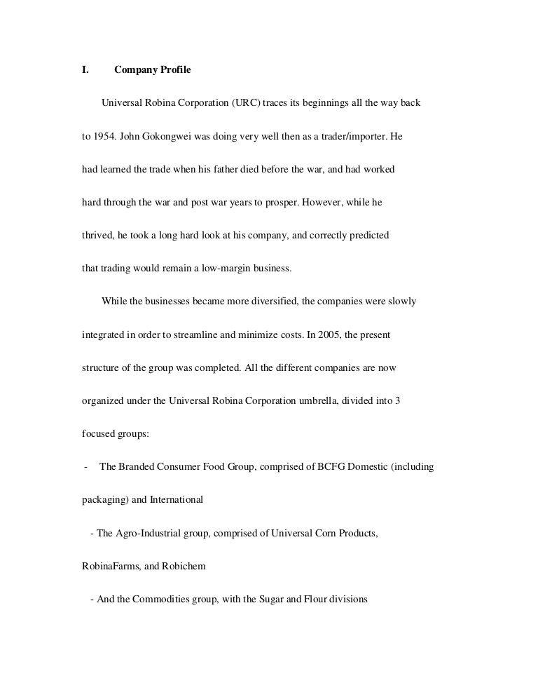 I Company Profile Universal Robina Corporation Urc Traces Its