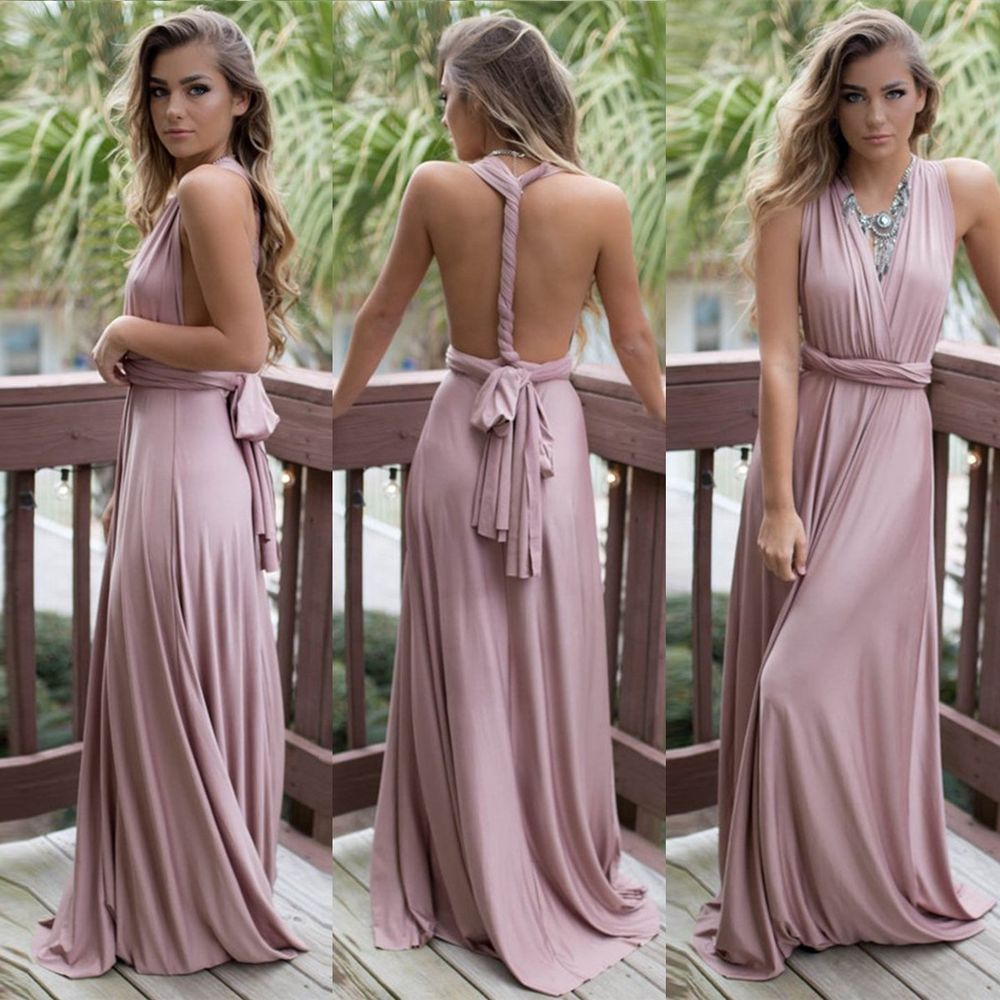 563029620e Women Evening Dress Convertible Multi Way Wrap Bridesmaid Formal Long  Dresses  Unbranded  GownDress