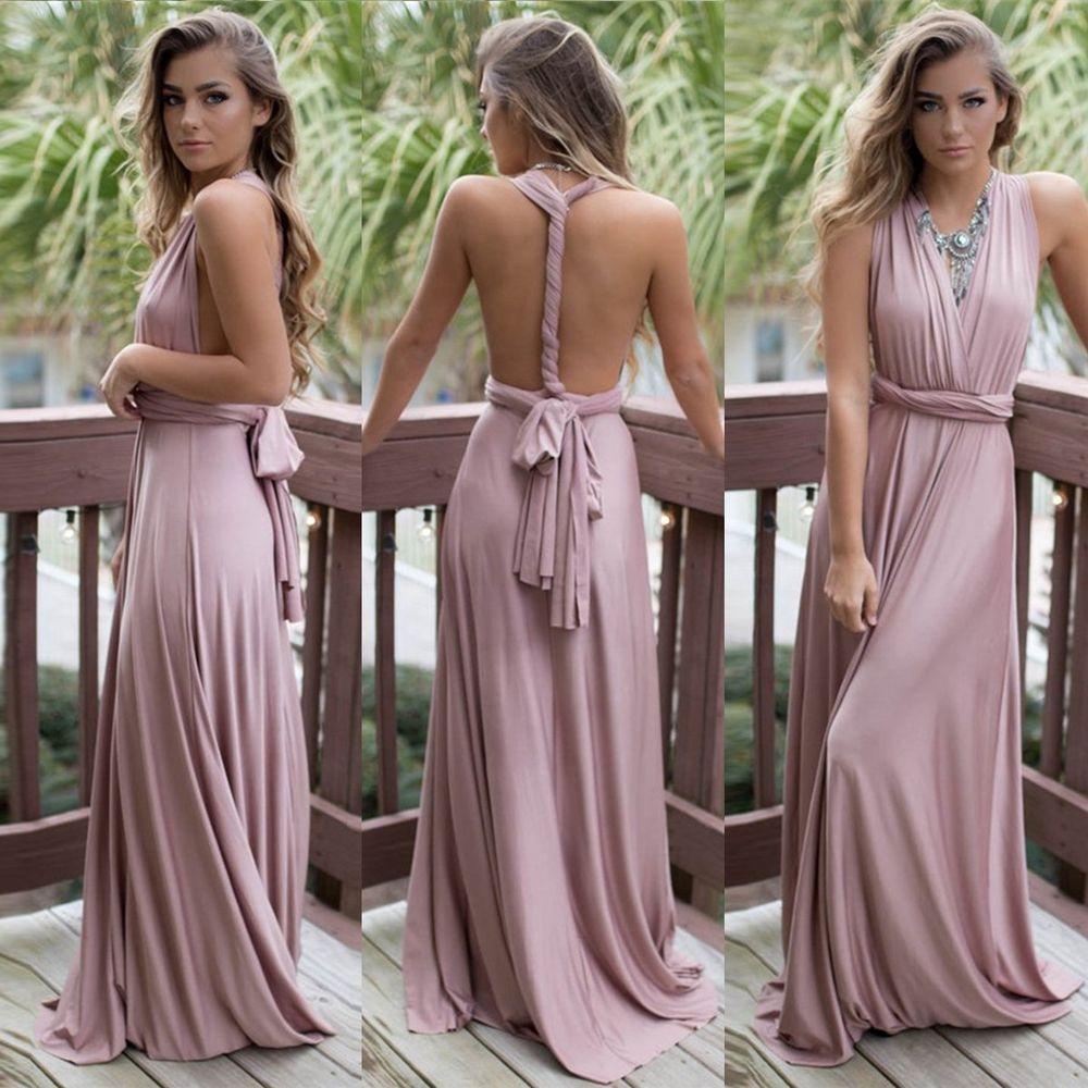 Women evening dress convertible multi way wrap bridesmaid formal
