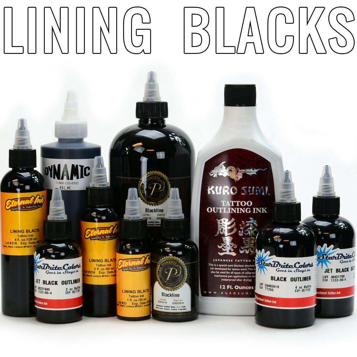 Lining B L A C K S Only The Best Black Inks On The Market Blackline Eternalink Fusionink Startbrite Kurus Ink Tattoo Marquesan Tattoos Tattoo Shop Decor