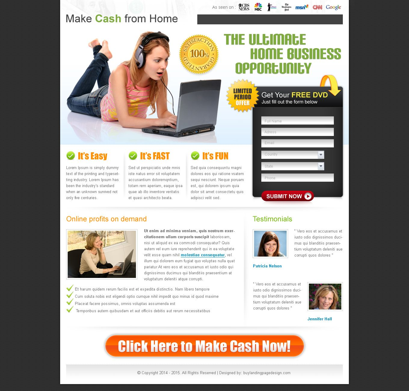 Download FREE work from home landing page | FREE LP DESIGN | free ...